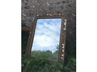 Large French Gilt Louis Phillipe Antique Mirror Distressed Vintage Shabby Chic