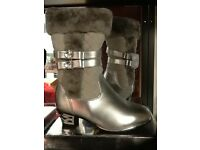 Silver high heel boots with fur new