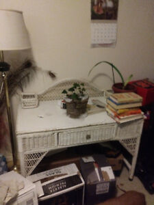 MOVING  white wicker desk and white wicker shelf unit