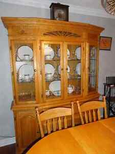 Oak Hutch, Table and 6 Arrow back Chairs