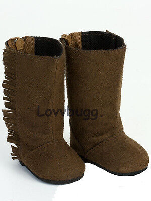"Lovvbugg Tall Brown Fringe Suede Boots for 18"" American Girl or Boy or Bitty Baby Doll Shoes"