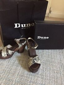 Dune wooden wedged sandals