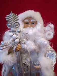 "Holiday 16"" Silver with White Fur Velour Santa Clause Figurine Regina Regina Area image 2"