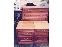 Bedside cabinets and matching chest of draws
