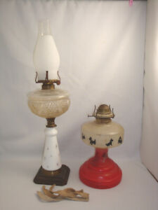 Antique 2 Oil Lamps Milk Glass Bottom Metal Base