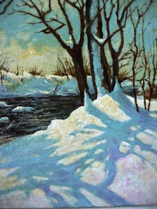 """Early Spring Landscape by T. Callaghan """"Spring Patterns"""", 1960's Stratford Kitchener Area image 4"""