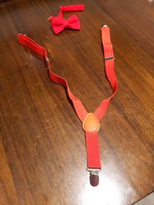 2pc kids red suspenders with bow tie set