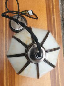 Brand new brass and cutt glass pendant light