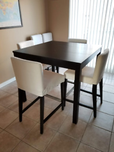 IKEA Bjursta high table with 6 chairs