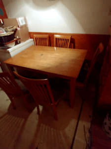 Hardwood Dinning table 6 chair set with extension
