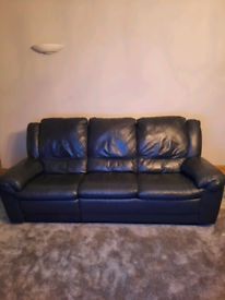 Navy leather 3 seater sofa with recliner