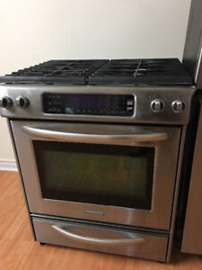 """Kitchen aide 30"""" gas stainless steel stove range oven"""