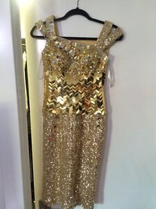 Size 0 gold cocktail dress