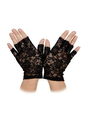 Short Black Lace Fingerless Gloves 80s 90s Gothic Ladies Fancy Dress Halloween (90's Halloween Kostüme)