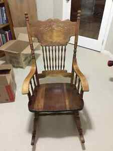 Solid carved rocking chair