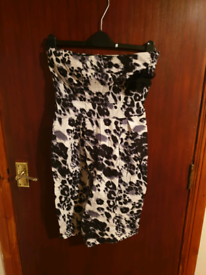 Black And White Print Strapless Dress New Look Size 8