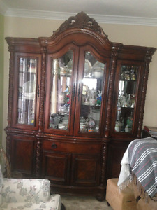 Beautifully hand crafted dining room table & china cabinet