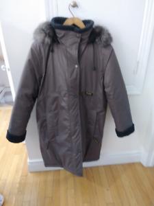 Manteau d'hiver long, femmes, collet fourrure, neuf, très chaud