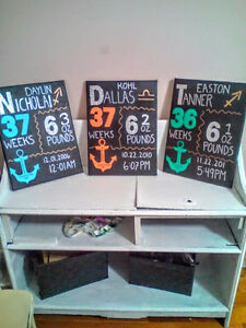 Baby Birth Stats Canvases