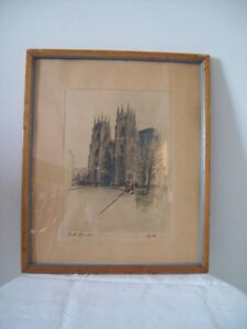 ANTIQUE CATHEDRAL HAND COLOURED PRINT IN ANTIQUE PINE FRAME