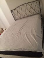 Queen bed frame, box spring w head/end board