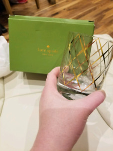 Kate Spade Dbl Old Fashioned Whiskey Glass x 2, Gold Trellis