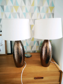 X2 table lamps bronze hammered effect