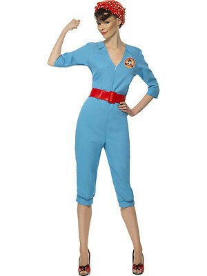 Smiffy's Women's 1940's Vintage Factory Girl Costume Jumpsuit Size Large 14-16