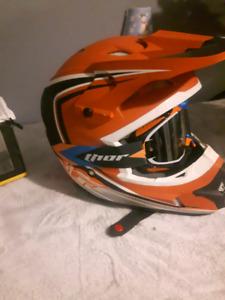 dirt bike helmet and goggles