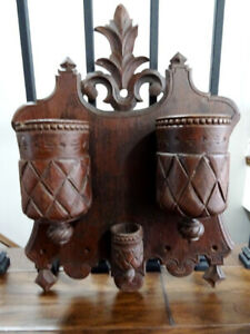 """antique VICTORIAN chip carved HAT SCARF RACK French QUEBEC 18"""""""