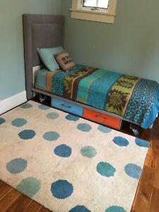 Modern Twin Bed, Headboard and Mattress Set