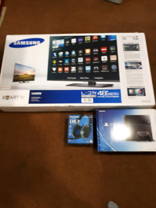 "48"" smart tv samsung NEW, PS4 system, headset, etc"