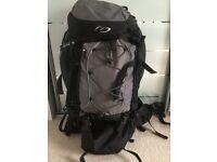 Black and grey 65l rucksack