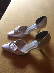 White Satin Pumps
