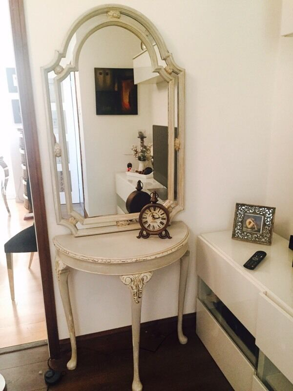 Rustic Shabby Chic Wood Half Moon Table And Mirror