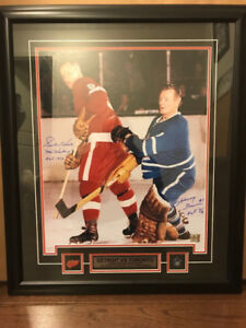 Gordie Howe & Johnny Bower Dual Signed and Framed 16x20