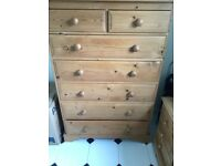 Chest of solid pine draws bed side cabinet
