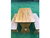 Pine dining table and 2 benches
