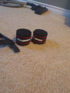 2 small size weight lifting belts and knee wraps used a handfull