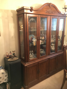 Solid Wood Hutch + Expandable Dining Table + 6 Chairs Available