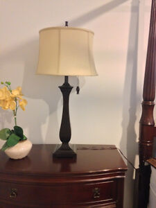 SET OF 2 TABLE LAMPS - ESPRESSO WITH TAUPE SHADES (LIKE NEW) London Ontario image 6