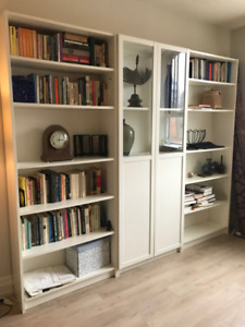 3 IKEA White Billy Bookcases