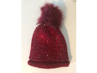 Red diamanté beanie hat