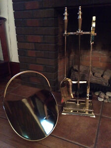 Brass Fireplace/Stove Tool Set with Stand & Wood Holder/Carrier Belleville Belleville Area image 1