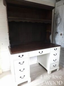 Used Desk - Chocolate and White