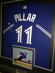 Kevin Pillar Framed Signed Jersey w/ Picture