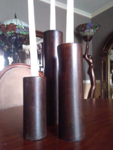 3 candle sticks mid century modern