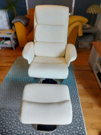 Recliner swivel chair. Cream and silver good condition