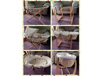 Mamas & Papas Moses Basket with 2 Stands