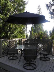 Outdoor Table, 4 Chairs and Umbrella Set